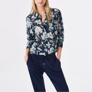 GANT blue monochrome flower voile shirt — small